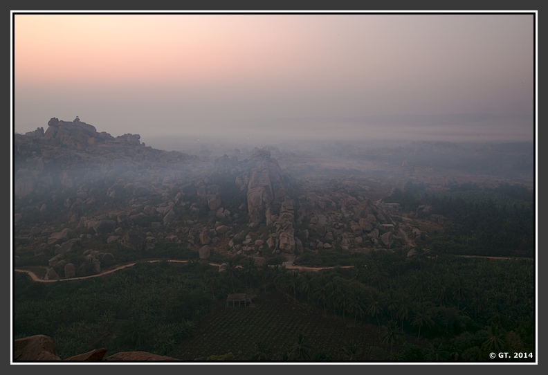 Fog rolls in towards Hampi