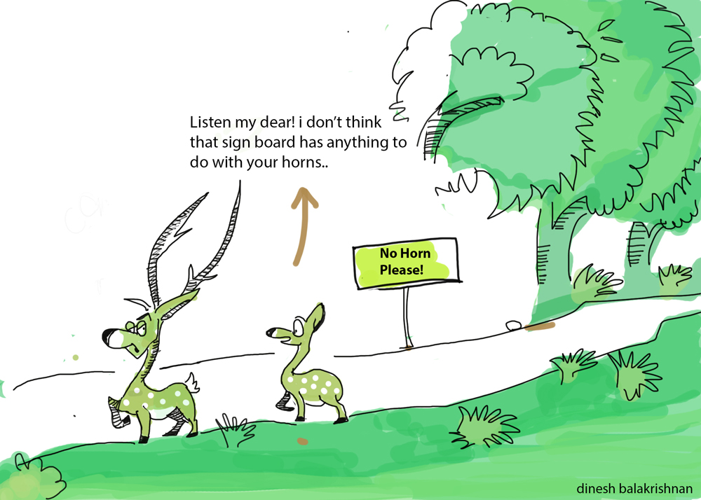 No Horn Please, Wilderhood Recitals Chapter Laughing Dove, Wildlife Cartoons by Dinesh Balakrishnan